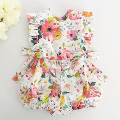 Newborn Baby Girl Summer Flower Ruffle Romper Bodysuit Jumpsuit Outfits Sunsuit