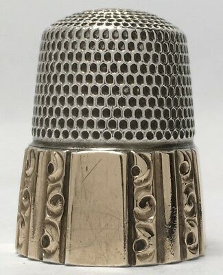 Gold Banded Panel & Fluted Sterling Thimble Size 9 by Simons Bros. Co.