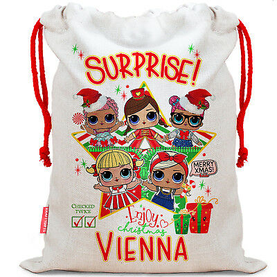 LOL surprise Dolls Christmas Sack Personalised Santa xmas Present Bag Gift NS020