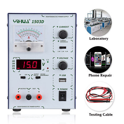 YIHUA 15V 3A 110V/220V Precision Variable Dual Digital DC Power Supply Lab Test