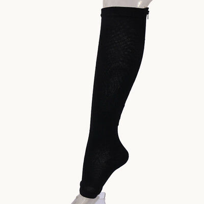 df8a32ee51 Zip Sox Compression Socks with Zipper Supports Leg Knee Stockings Open Toe  New
