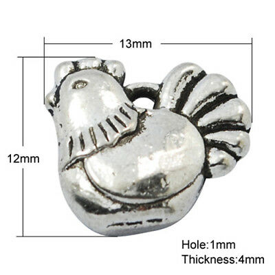 1000PCS Alloy Pendants Charm Links For Necklace Lead Free Chicken Antique Silver