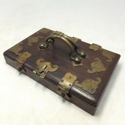G272: Chinese case of KARAKI wood and copper with appropriate work and pattern