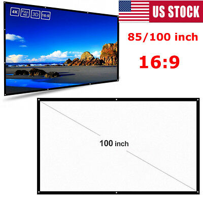 Edal 84/100inch 16:9 Portable Foldable Projector Screen HD Home Theater 3D Movie
