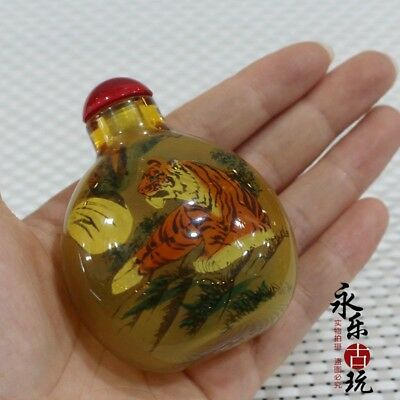 China art Old Coloured Glaze Inside painting tiger glass Snuff / Perfume Bottle