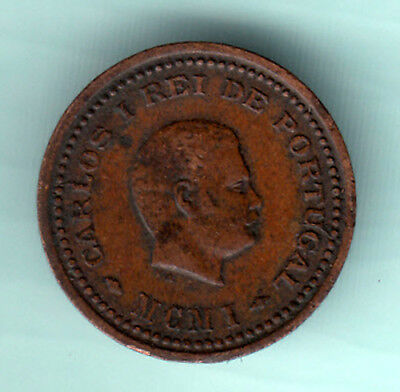 Portuguese Colonial India 1901 Extremely RARE 1/12 Tanga Copper Coin Carlos B83