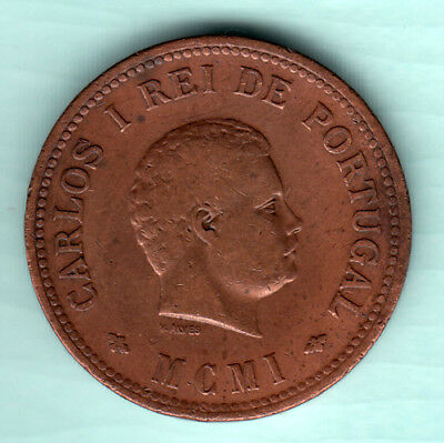 Portuguese Colonial India 1901 Extremely RARE 1/2 Tanga Copper Coin Carlos B89