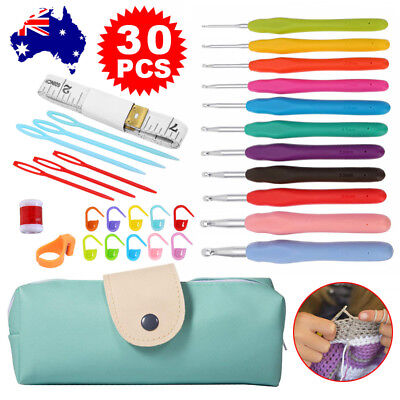 30Pcs With Bag Soft handle Crochet Hooks Knitting Needles Sets Sewing Tools Grip