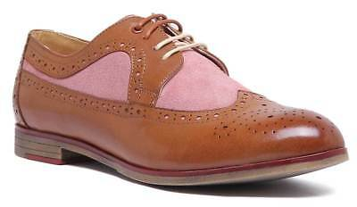 Justin Reece Women Casual Lace up Leather Brogue In Brown Pink Size UK 3 - 8