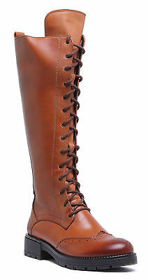 Justin Reece Womens Lace up Military Brown Leather Knee Boot Size UK 3 - 8