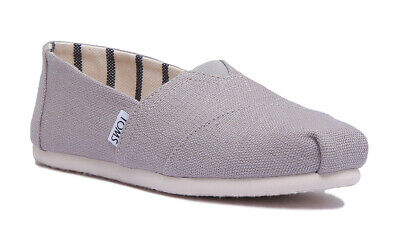 Toms Classic Canvas Women Slip On Canvas Espadrilles In Grey Size UK 3 - 8
