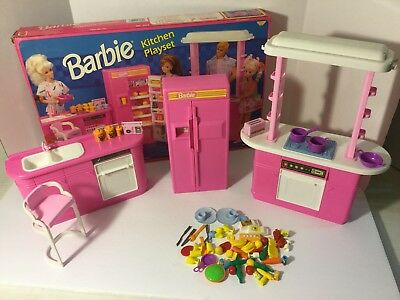 Vintage 1992 Barbie Kitchen Playset Mattel Littles Food Accessories Refrigerator