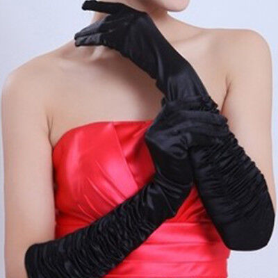 Womens Evening Party Formal Gloves 15'' Long Satin Finger Mittens Bridal Wedding