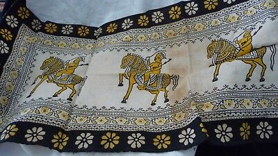 """#827/4 vtg Antique Fabric Table Runner  35"""" X !#""""  Chinese Japanese Asian PRINT"""