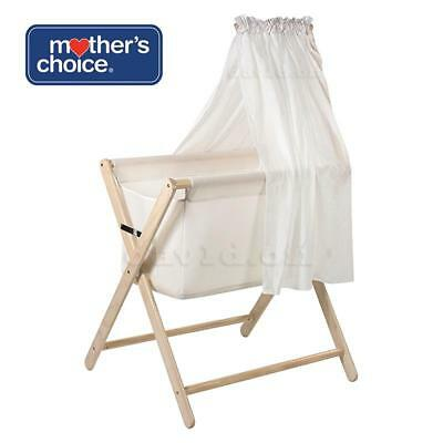 Br New Mother's Choice Coco Bassinet Folding Bed Cot Crib Infant Baby White Wash
