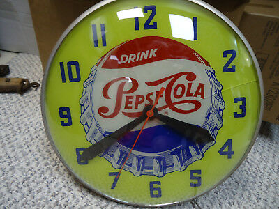 RARE VTG 1940 -50's ADVERTISING PEPSI COLA LIGHTED CLOCK SIGN SWIHART - WORKS