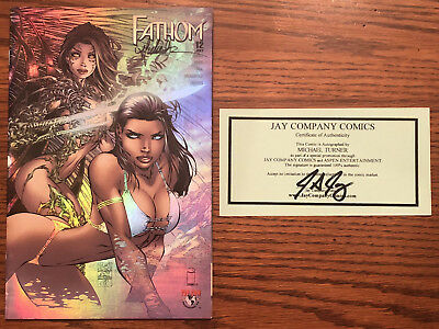 FATHOM #12 HOLOFOIL VARIANT SIGNED by MICHAEL TURNER. Image Top Cow ASPEN NM