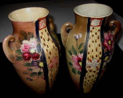 ANTIQUE Pair of Matching Handpainted 25cm PORCELAIN VASES