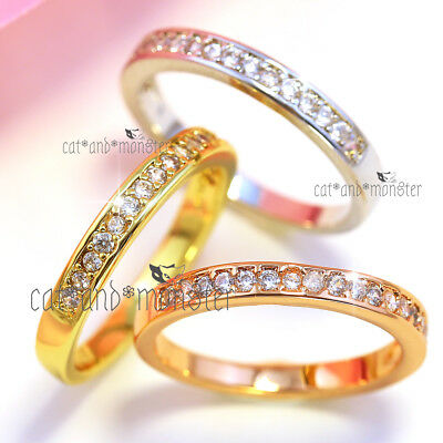 18K Gold Gf Ladies Lab Diamond Eternity Band Wedding Anniversary Stack Midi Ring
