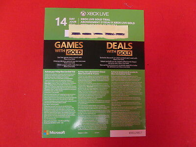 Xbox Live Gold 14 Day Trial New for Xbox one S console 2016 release 9827