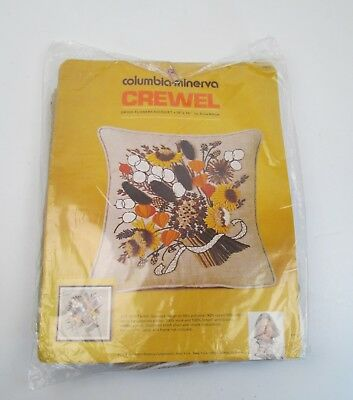 Vintage Columbia Minera Crewel Embroidery Pillow Kit Dried Flower Bouquet