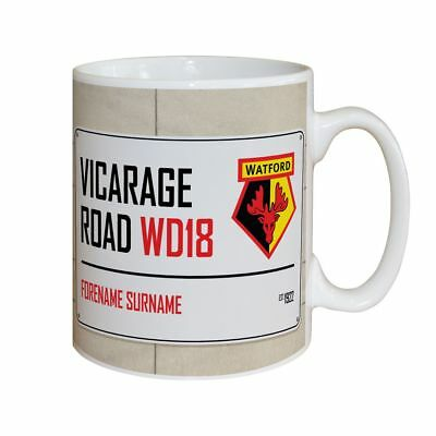 Personalised Watford FC Street Sign Mug Gift Fan Supporter Vicarage Road