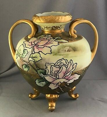 Antique Noritake Nippon Gold Hand Painted Roses Vase 8""