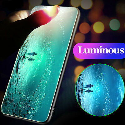 For iPhone Models Luxury Luminous Shockproof Tempered Glass Case Cover