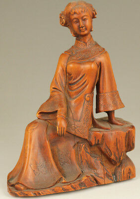 rare chinese old Big Boxwood Hand Carved royal girl miss love  Statue figure