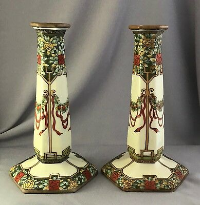 Antique Noritake Nippon Hand Painted Candlesticks (B)