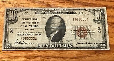 New York NY , first National bank of , 1929 $10 ,  t-1 , Fine