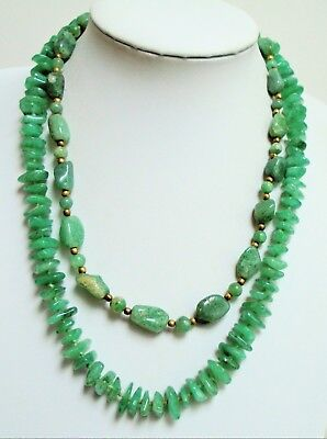 Good vintage hand knotted jade bead necklace + 1