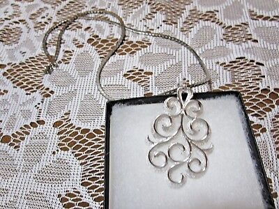 "Vintage Crown Trifari Pendant Glossy & Textured Silver-Tone 3""  & Free 24"" Chain"
