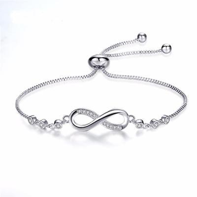 UK Adjustable Silver Infinity Friendship Bridesmaid Bracelet Cubic