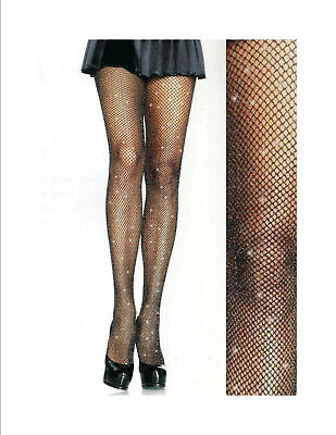 Black LA1404 1 Pair Leg Avenue Women/'s Open Gusset Fishnet Tights 100/% Nylon