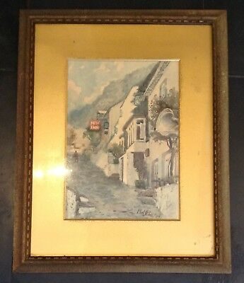Old Vintage Early 20th Century Street Scene Clovelly Devon Watercolour Painting