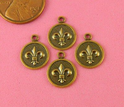 Rund Ameise Messing Lilie Charms-4 Pc S