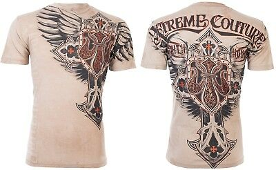 Xtreme Couture by Affliction Short Sleeve T-Shirt Mens LOCKDOWN Sand S-3XL NWT