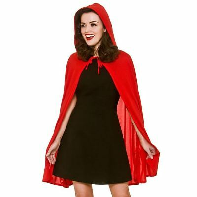 Ladies Short Little Red Riding Hood Cape Halloween Fancy Dress Party Accessory