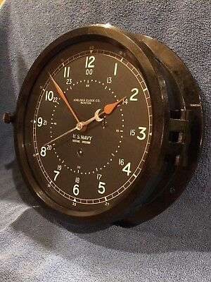 """** Fully Restored** LARGE 10""""  WWII US NAVY Chelsea Ship Clock serial 86209E"""