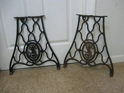 "Antique 1887 Cast Iron Singer 20"" Short Legs Coffee Side Table Base off 29-4"