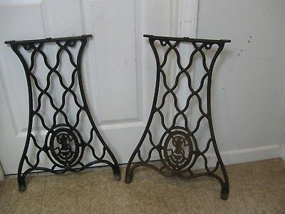 "Antique Set Industrial Cast Iron Singer 26-1/2"" Tall Legs Table Base off 29-4"