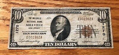 Millville New Jersey, National bank , 1929 $10,  t-1 , Fine