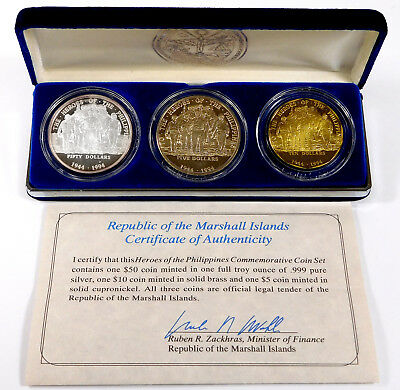 1994 Marshall Islands Heroes of the Philippines Commemorative 3-Coin Set