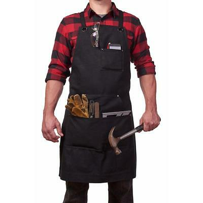 Black Shop Apron Waxed Canvas Work with Pocket Adjustable Strap Apron  6L