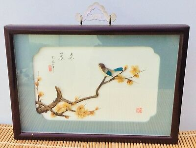 A Beautiful Chinese Framed Picture Of Birds On Tree See Picture