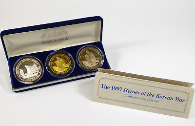 1997 Marshall Islands Heroes of the Korean War Commemorative 3-Coin Set