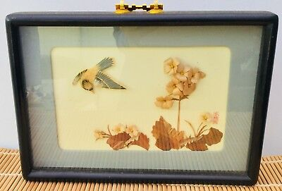 Loft Find An Attractive  Chinese Framed Montage Of A Bird  And Plants.