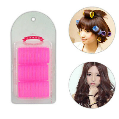 9PCS Large Self Grip Hair Rollers Curling Curls Waves Cling Stick Styling #HN8