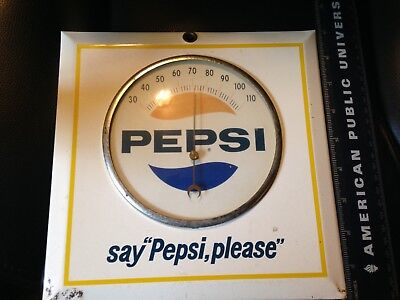 Old Pepsi Thermometer Metal Over Cardboard  9X9 Inches Nice Size